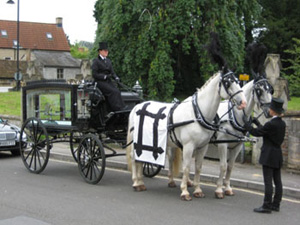Funeral directors with a horse and carriage