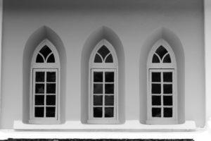 Windows of a white church