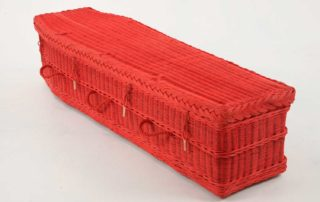 Coffins are available in a range of colours such as red as shown here